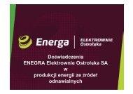 Doświadczenia ENEGRA Elektrownie Ostrołęka SA w produkcji ...
