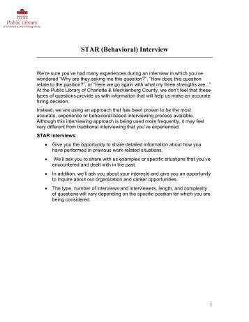 behavioral interview star