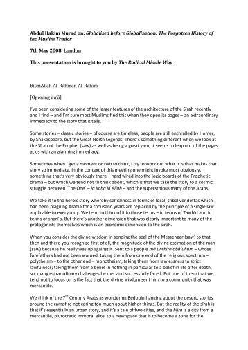 PDF Transcription Shaykh Abdul Hakim Murad - Radical Middle Way
