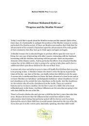 Professor Mohamed Hyder on - Radical Middle Way