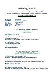 Programme des activités des Groupes de Travail IS3C - LISMMA
