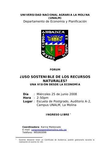 forum - Universidad Nacional Agraria La Molina