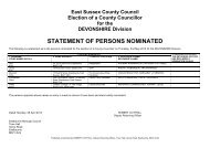 STATEMENT OF PERSONS NOMINATED - East Sussex County ...