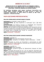 SESSÃO DE 12/12/2012 PAUTA DOS EXAMES PRÉVIOS DE EDITAL