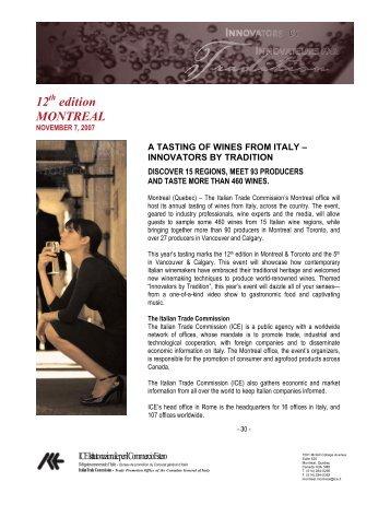 12 edition MONTREAL - Délégation Commerciale d'Italie