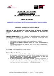 Programme du module d'aide à la préparation de la thèse