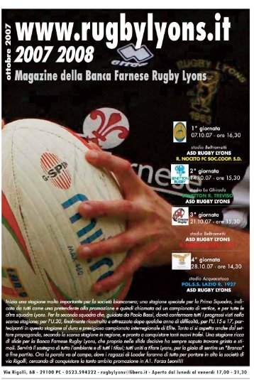 Ottobre 2007 - Rugby Lyons