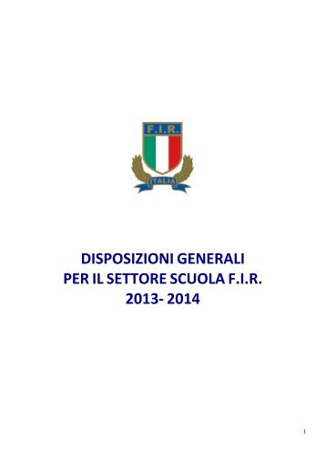 scarica le disposizioni generali per il settore scuola - Federazione ...