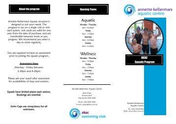 Squads Brochure - Annette Kellerman Aquatic Centre