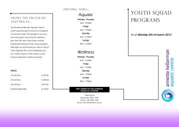 YOuTH SquAD PROGRAMS - Annette Kellerman Aquatic Centre