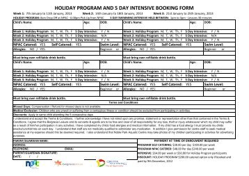 HOLIDAY PROGRAM AND 5 DAY INTENSIVE BOOKING FORM