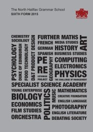Sixth Form Prospectus - The North Halifax Grammar School
