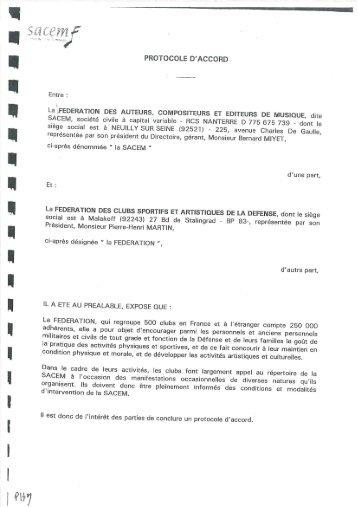 Convention avec la SACEM – 26 juillet 2001 - La fédération des ...