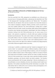 Theory and Politics in Research on Muslim immigrants in Norway