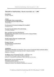 Tidsskrift for Islamforskning - Danske koranstudier, nr. 1 - 2006