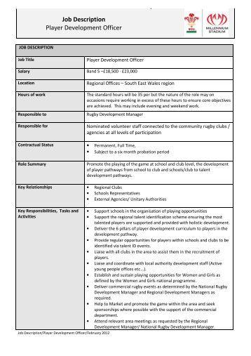Description Player Development Officer