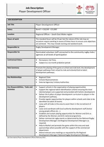 Probation Officer Job Description. Description Player Development Officer