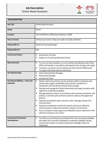 job description online retail assistant
