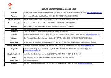 FIXTURE SECRETARIES SEASON 2012 - 2013 - Welsh Rugby Union