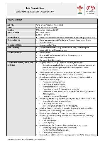 Job Description WRU Group Assistant Accountant   Welsh Rugby .