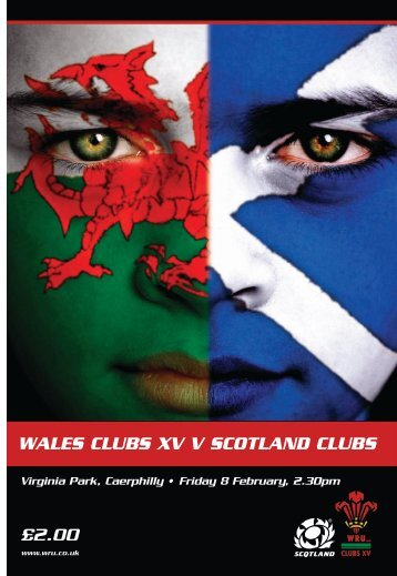 WALES CLUBS XV V SCOTLAND CLUBS £2.00 - Welsh Rugby Union