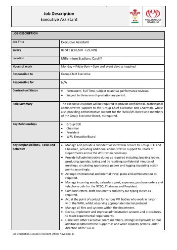 Job Description Job Title Executive Support Assistant