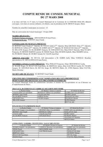 compte rendu du conseil municipal du 27 mars 2008 - la roche chalais