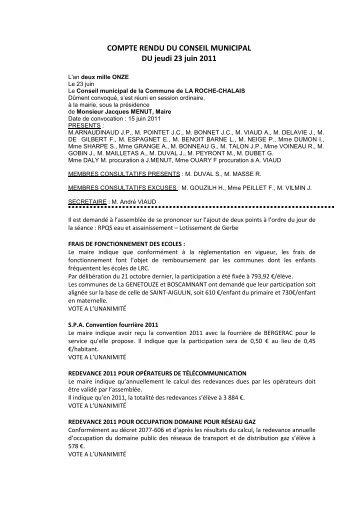 COMPTE RENDU DU 23 JUIN - la roche chalais