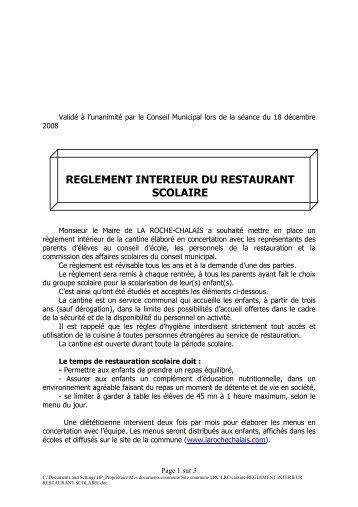 reglement interieur restaurant scolaire - la roche chalais