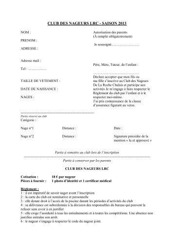 CLUB DES NAGEURS LRC - SAISON 2013 - la roche chalais