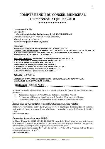 COMPTE RENDU CM du 21 JUILLET - la roche chalais