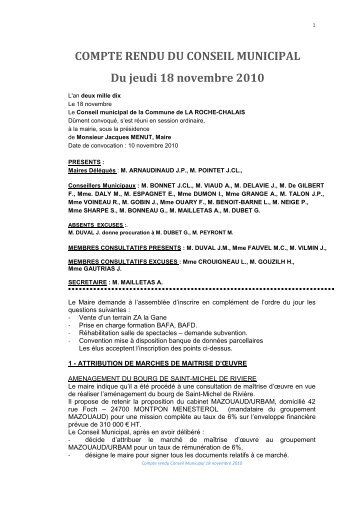 COMPTE RENDU CM 18 Nov 2010 - la roche chalais