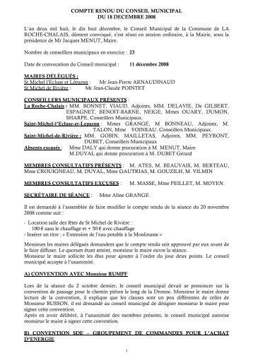 COMPTE RENDU DU CONSEIL MUNICIPAL DU ... - la roche chalais
