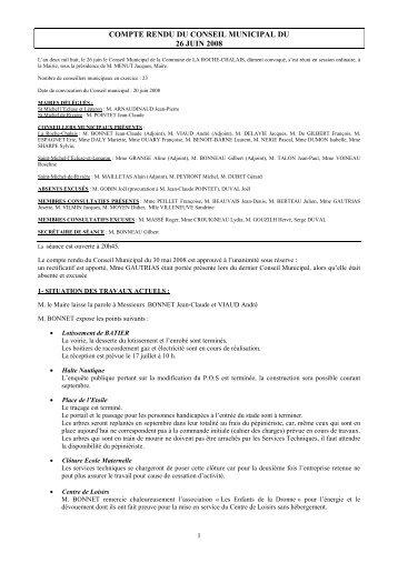 compte rendu du conseil municipal du 26 juin 2008 - la roche chalais