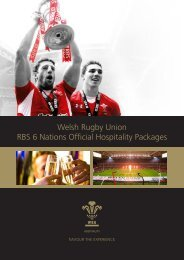 Welsh Rugby Union RBS 6 Nations Official Hospitality Packages