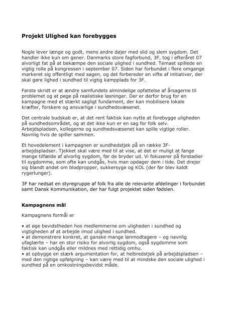 Projekt Ulighed kan forebygges - Dansk Kommunikation
