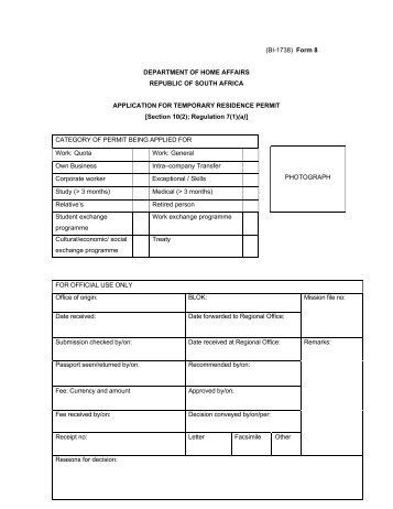 Bi 84 Form 11 Department Of Home Affairs South Africa