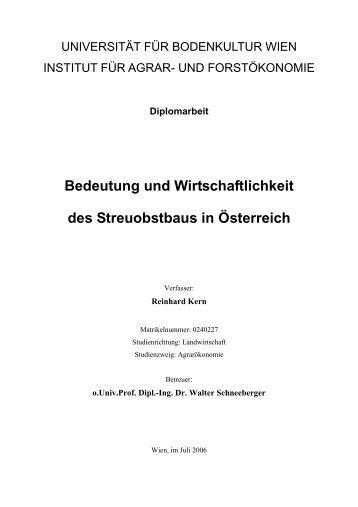 Bedeutung und Wirtschaftlichkeit des Streuobstbaus in Österreich
