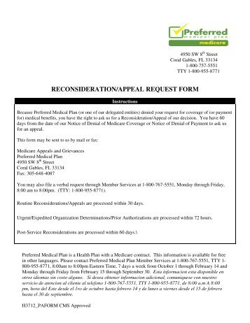 Medicare Request for Reconsideration Form - Health Net