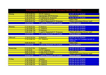 Belegungsplan Kunstrasen des SV Weissenau Saison 2012 / 2013