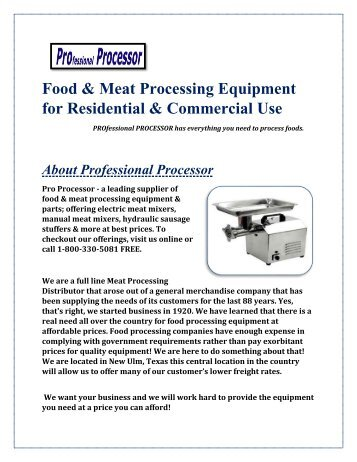 Food & Meat Processing Equipment for Residential & Commercial Use