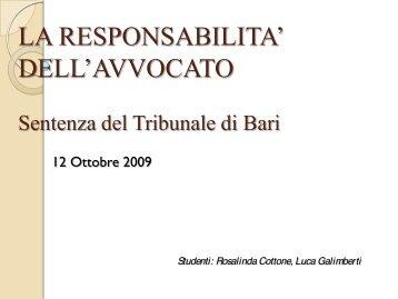 DELL'AVVOCATO Sentenza del Tribunale di Bari - Giurisprudenza