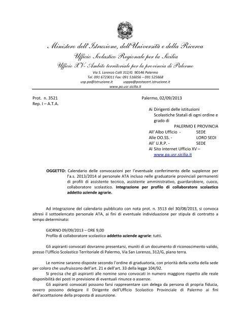 Calendario Regionale Scolastico Sicilia.Calendario Di Convocazione Supplenze Personale Ata Integrazione