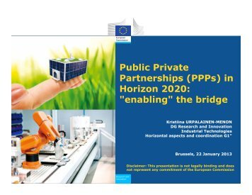 "Public Private Partnerships (PPPs) in Horizon 2020: ""enabling"" the ..."