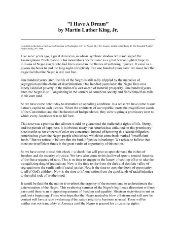 martin luther king jr speech analysis Computer-aided analysis of aspects of speeches of the reverend martin luther king, jr specif- ically, the analysis has investigated the occurrence of indicators of the efficiency function--tools facilitating the comprehension of a discourse by a hearer or reader--in four speeches of dr king contrary to the expectations of.