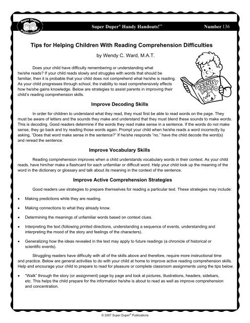 Tips for Helping Children with Reading Comprehension