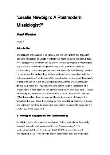 Lesslie Newbigin: A Postmodern Missiologist? - Henry Martyn Centre