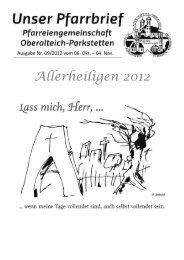 am Samstag, 27. Oktober 2012 im Pfarrheim Beginn 19.30 Uhr