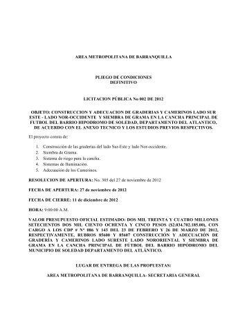 AREA METROPOLITANA DE BARRANQUILLA PLIEGO DE ...