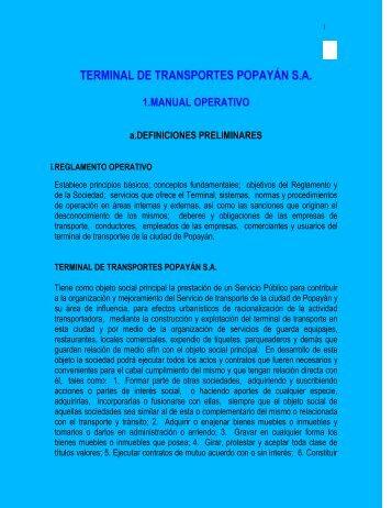 Manual Operativo Terminal de Transportes Popayán S.A